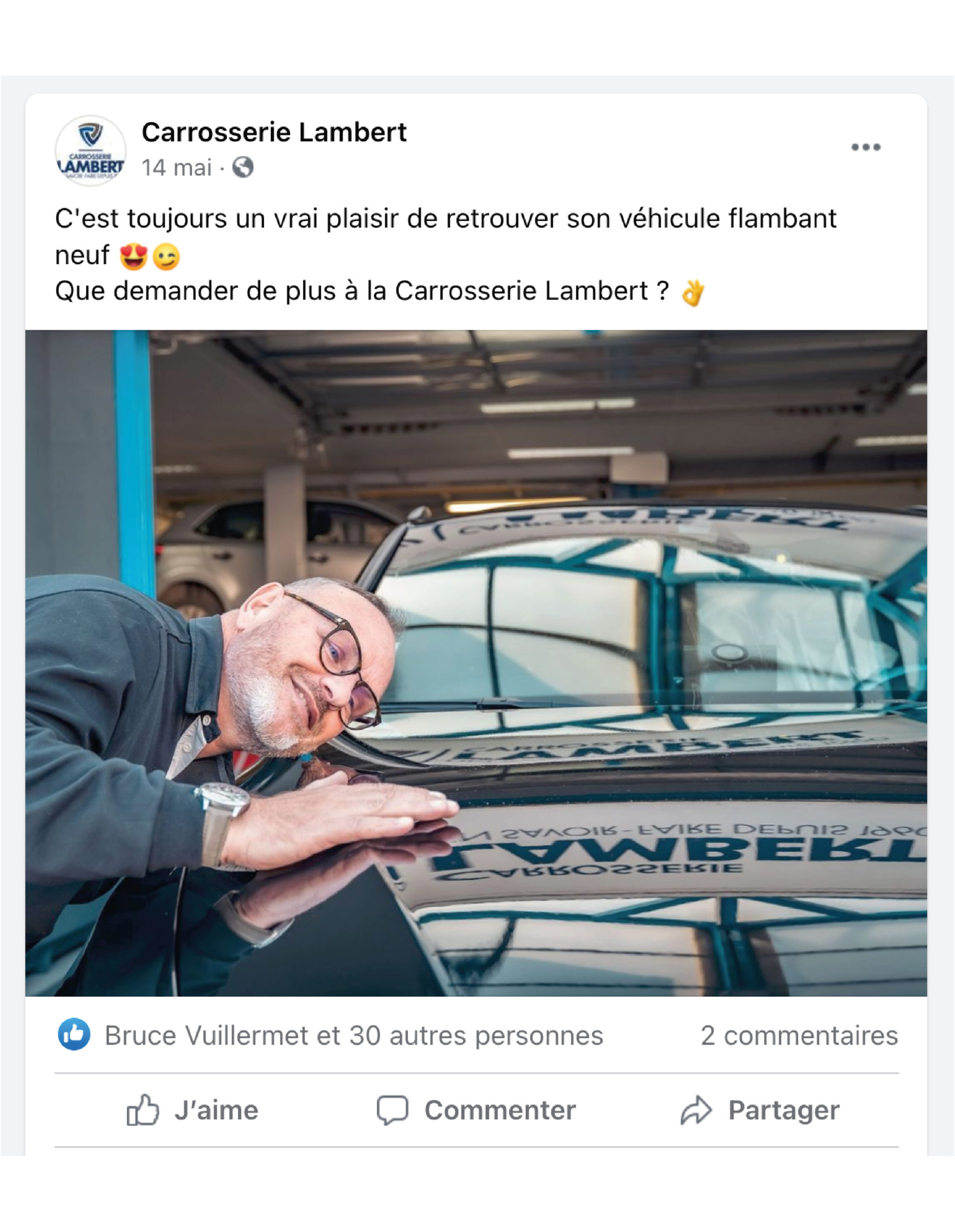 post facebook Carrosserie Lambert